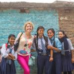 Anna with Nepalese pupils in Kathmandu, Nepal