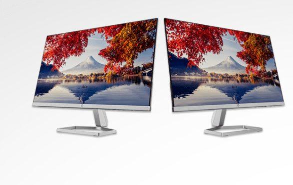 Dual HP M24f FHD 24 inch Monitor Bundle