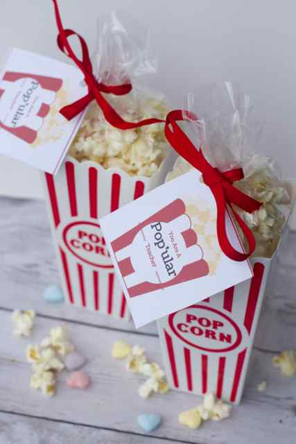 DIY Valentines Day Popcorn Teacher Gifts Free Gift Tag