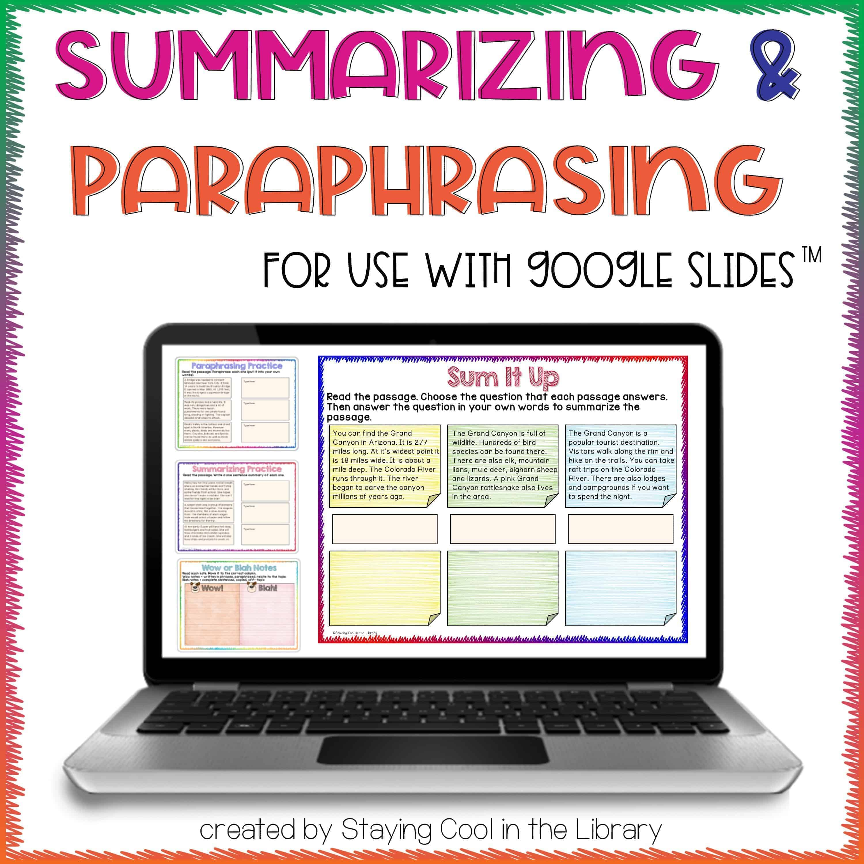 Summarizing And Paraphrasing Activities For Slides