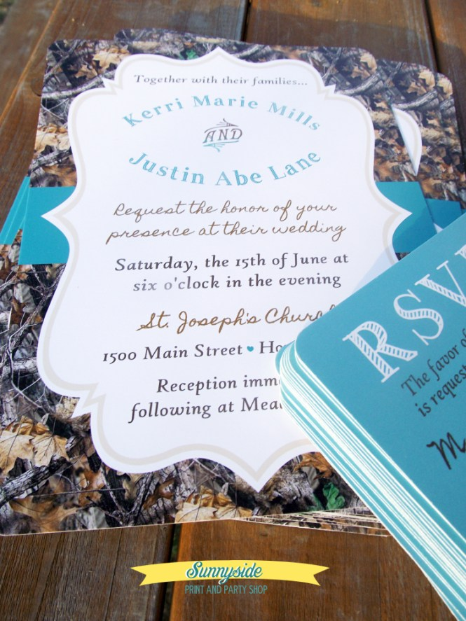 The Hunt Is Over Camo Wedding Invitations