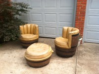 SOLD! Vintage Rustic Wine/Whiskey Barrel Chairs & Ottoman ...
