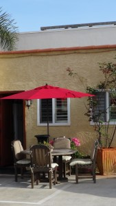 We provide umbrellas for your comfort, in the patio area.
