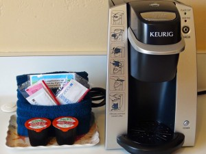 Your room has a Keurig coffee maker.