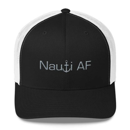 Nauti AF Trucker Hat in Black and White with Grey