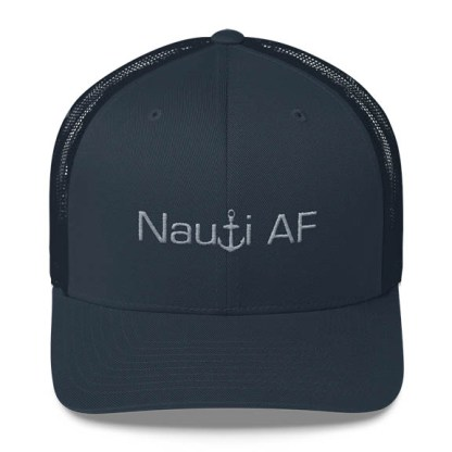 Nauti AF Trucker Hat in navy and grey