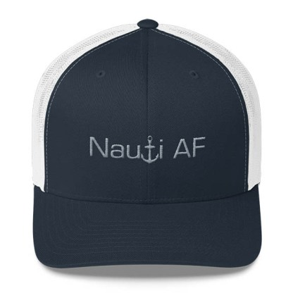 Nauti AF Trucker Hat in Navy white with Grey
