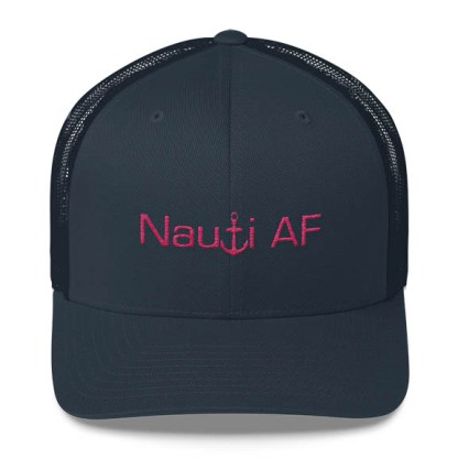 Nauti AF Trucker Hat in Navy with Pink