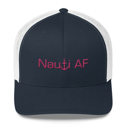 Nauti AF Trucker Hat in Navy and white with Pink