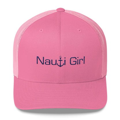 Nauti Girl Trucker Hat in Pink with Navy