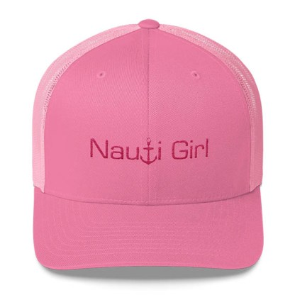 Nauti Girl Trucker Hat in Pink with Pink