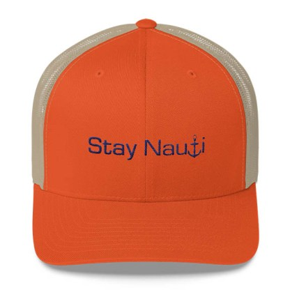 Stay Nauti Trucker Hat in Orange and Blue