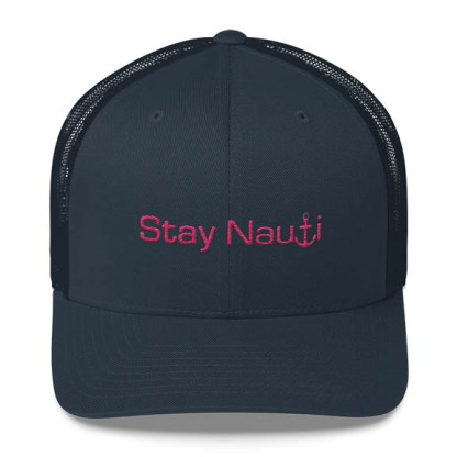 Stay Nauti Trucker Hat in Navy and Pink