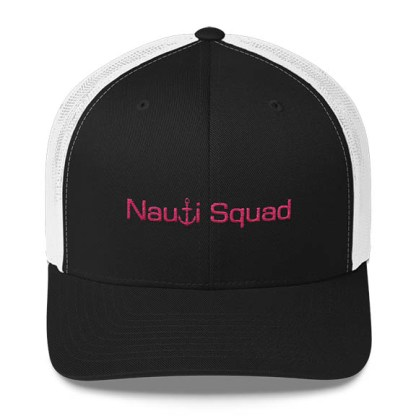 Nauti Squad Trucker Hat in Black and White with Pink