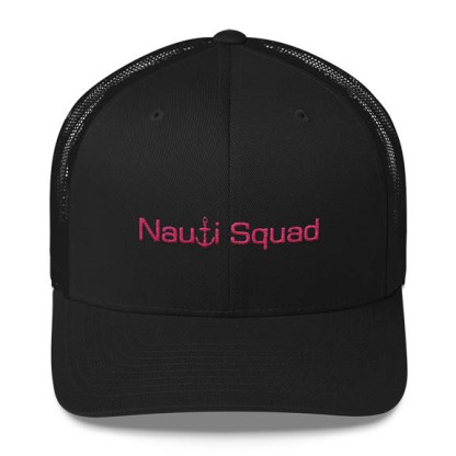 Nauti Squad Trucker Hat in Black with Pink
