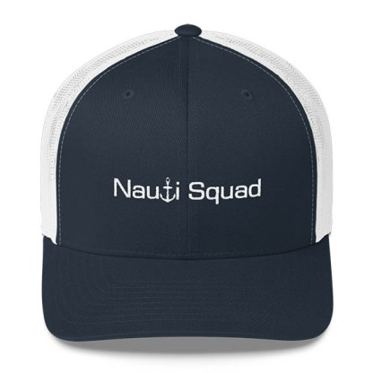Nauti Squad Trucker Hat in Navy and White with White