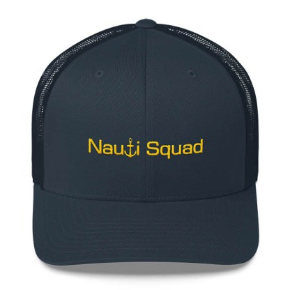 Nauti Squad Trucker Hat in Navy with Gold