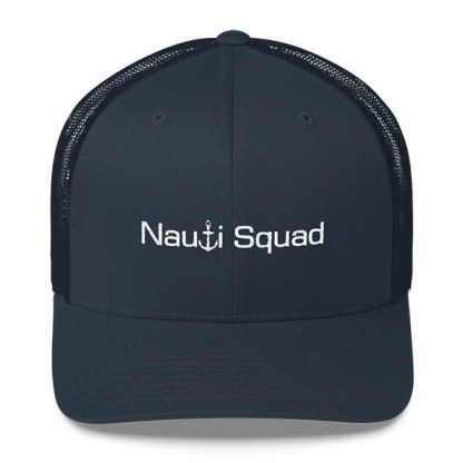 Nauti Squad Trucker Hat in Navy with White