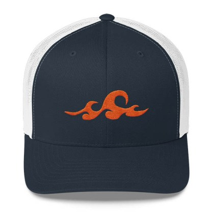 Waves Trucker Hat in Navy and White