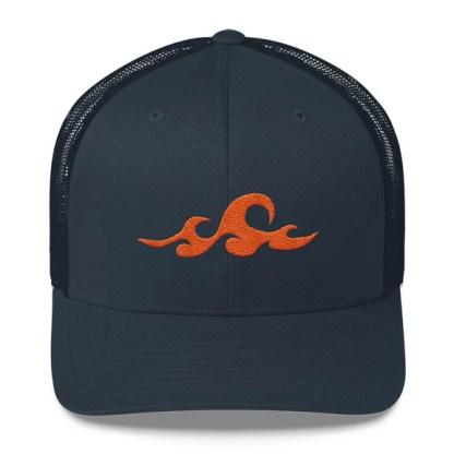 Waves Trucker Hat in Navy