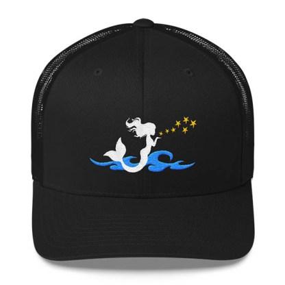 Mermaid Trucker Hat in Black