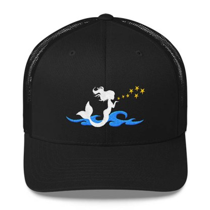 Mermaid Trucker Hat in Black