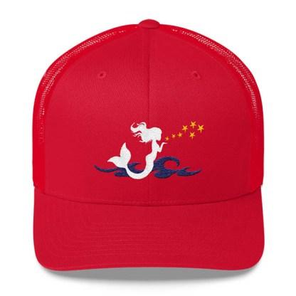Mermaid Trucker Hat in Red