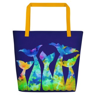 Mermaid Tails Beach Tote in Rainbow Tie Dye