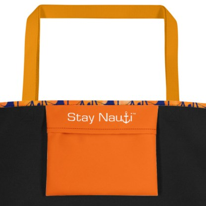 inside pocket - orange and blue beach tote
