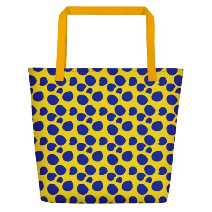 beach tote with blue spots