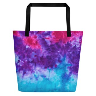 beach tote in bright tie dye