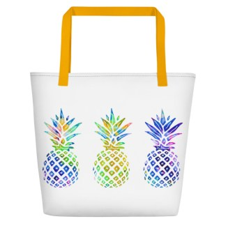 Stay Nauti Rainbow Pineapples Beach Tote