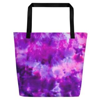 purple tie dye beach tote - back