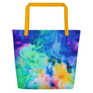rainbow tie dye beach tote back