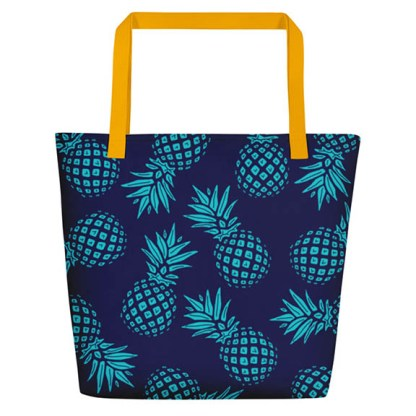 Pineapple beach tote in navy and aqua - back
