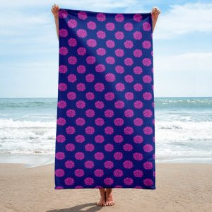 Pink and Navy Flower Beach Towel