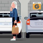 illustration of confused woman in parking garage