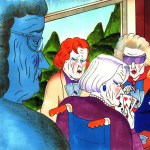 cartoon of mean seniors playing cards