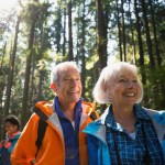 seniors hiking in a forest