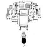 drawing of woman facing hospital equipment