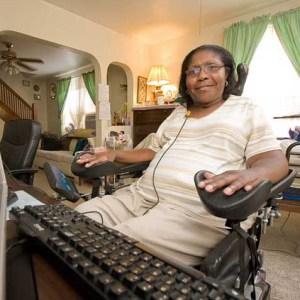 woman using Assistive Technology