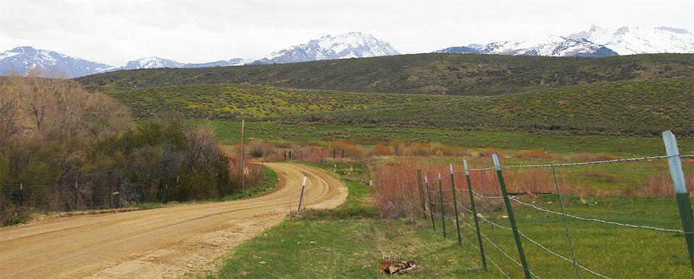 rural road through farm country