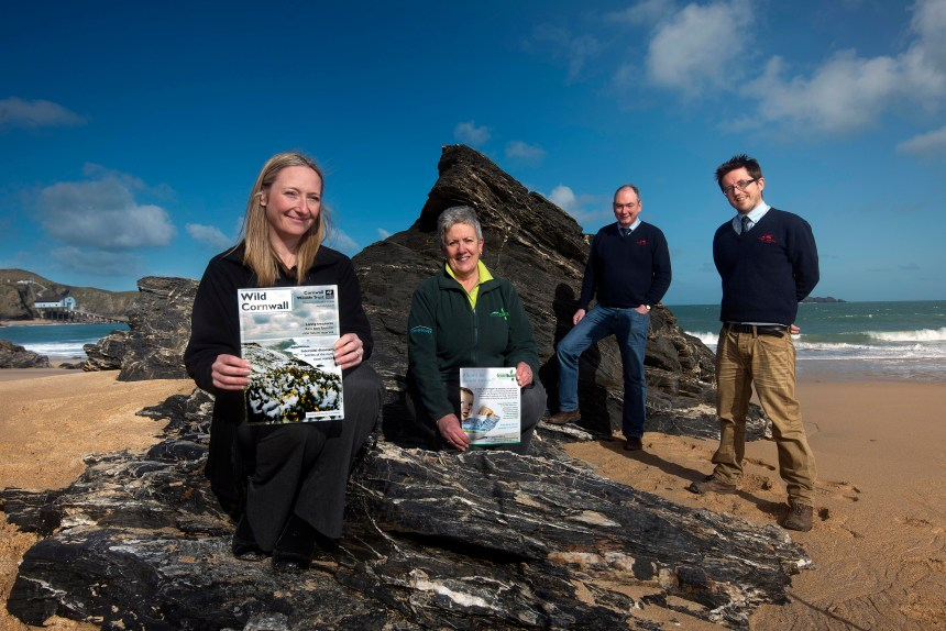 Left to right: Serena Pettigrew-Jolly of Cornwall Wildlife Trust; Jacqui White of Wadebridge Foodbank; Patrick Langmaid, park director, and Simon Sexton, reception worker