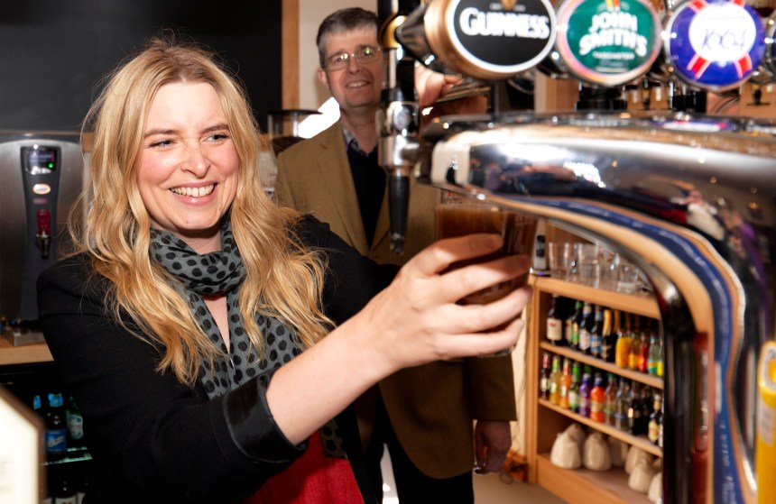 Emma Atkins in the bar with owner of The Royal, Michael Holgate