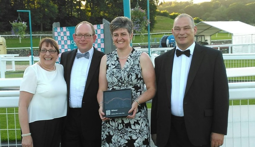 First past the post: pictured at the awards ceremony at Cartmel Racecourse are (from left) park managers Arlene and Tim Lovatt, park owner Susan Dickson, and head chef Graeme Rawley