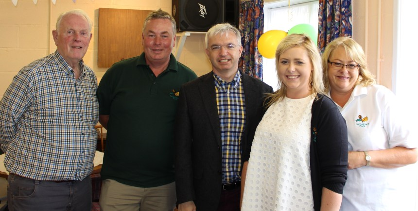 MP Mark Menzies (centre) joins members of the Lancaster family at the park's celebration event. From the left are Michael Lancaster, Paul Lancaster, Beccy Lancaster and Jane Lancaster