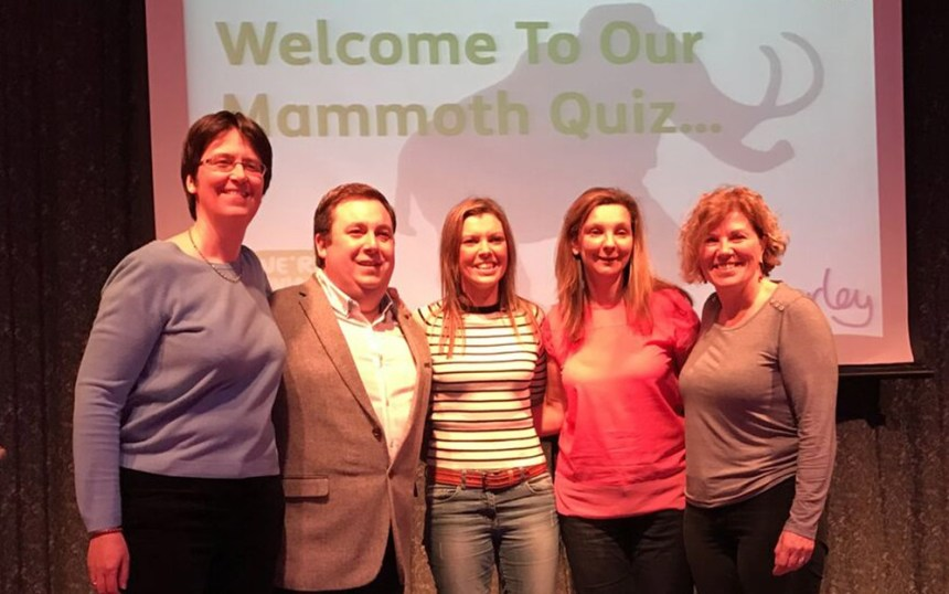 Question masters: From left are Macmillan fundraising manager for South Devon, Bridget Hill; Beverley Holidays head of entertainment, Drew Baker; park directors Katy Lamsin and Nicola Furneaux, and Macmillan head of fundraising for South West, Elaine Bovey