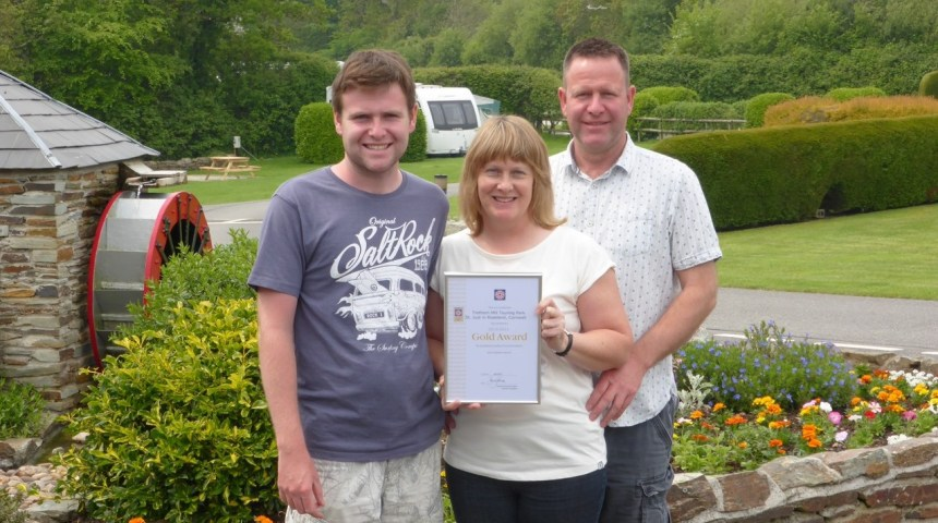 Ready for the spotlights: Ian and Jane Akeroyd with their son Jake at their Roseland Peninsula touring park