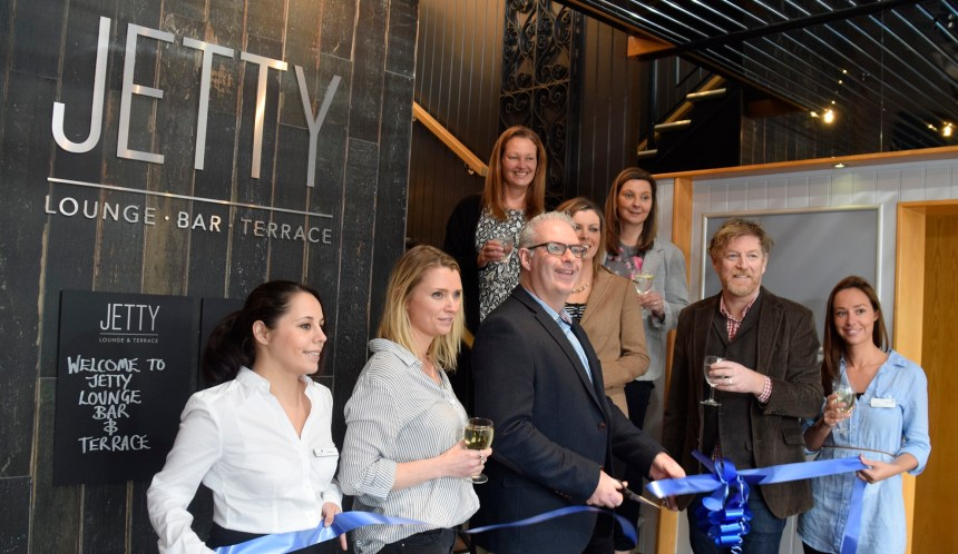 Opening time: staff, guests, and the family owners of Beverley Holidays celebrate at the launch of the Jetty