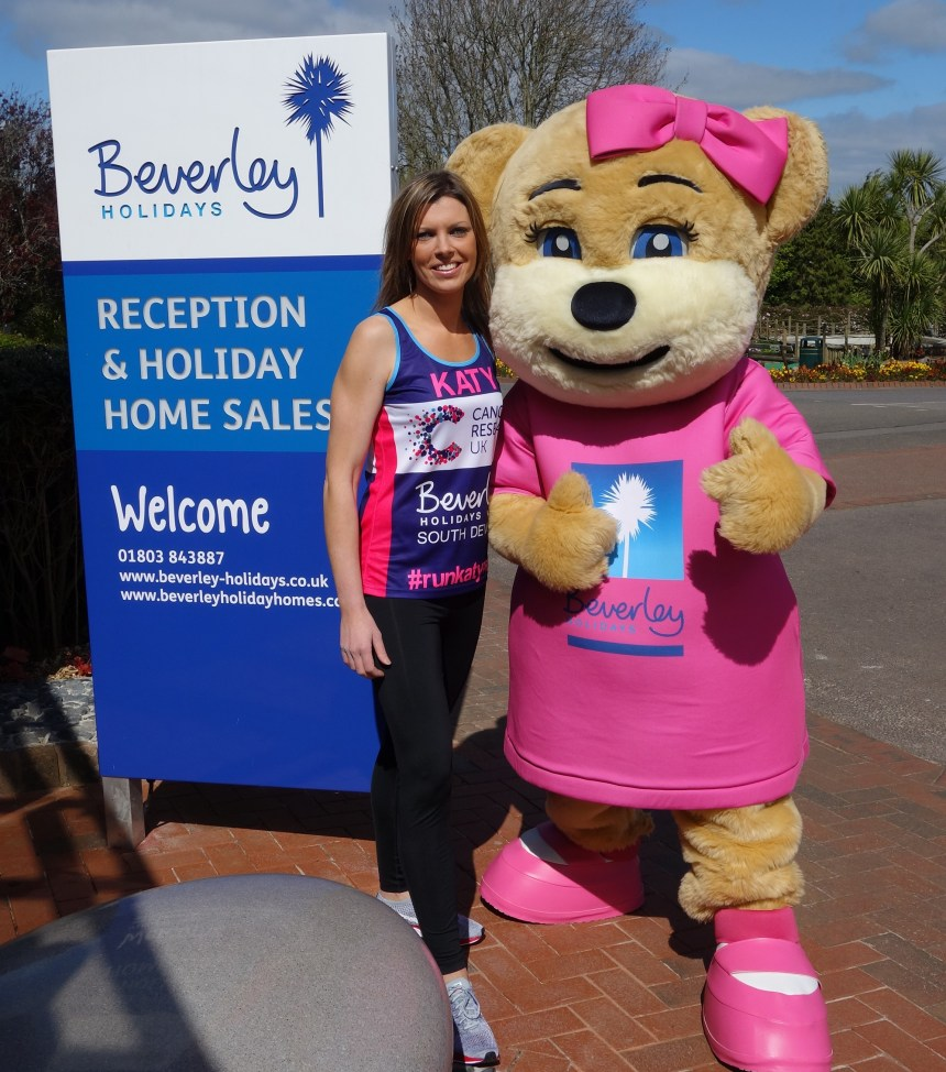 Mascot Beverley Bear will be among those cheering on Katy Lamsin in her marathon fundraising bid
